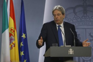 Italy's Premier Paolo Gentiloni speaks during a joint news conference with Spain's Prime Minister Mariano Rajoy at the Moncloa Palace in Madrid, Spain, Friday Jan. 27, 2017. (ANSA/AP Photo/Francisco Seco) [CopyrightNotice: Copyright 2017 The Associated Press. All rights reserved.]