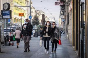 Poca gente in corso Buenos Aires a passeggio shopping il martedì mattina di lockdown - Milano 10 novembre 2020 Ansa/Matteo Corner